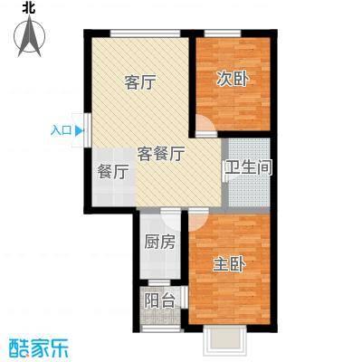 渤海玉园86.79㎡C户型2室1厅1卫