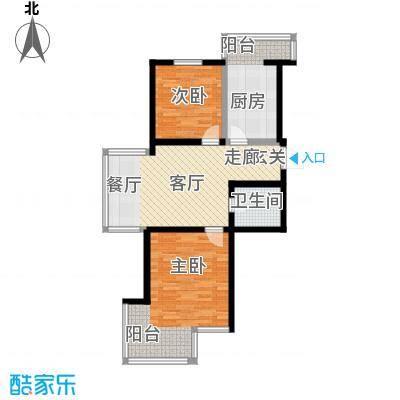 北苑绿洲82.85㎡二室一厅一卫户型S