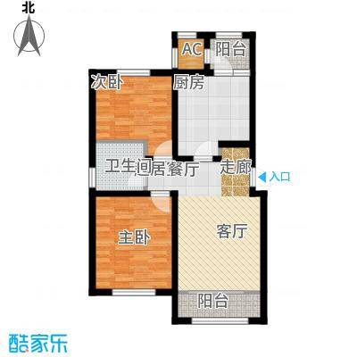 华厦津典三期川水园99.27㎡A1户型2室1厅1卫