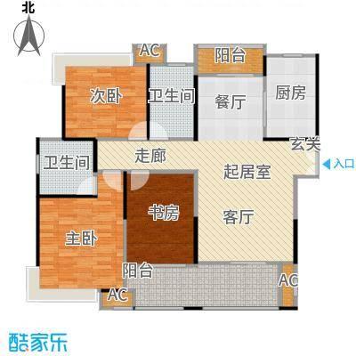 蓝光名仕公馆132.00㎡B2户型 132平米户型3室2厅2卫