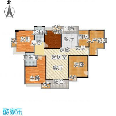 蓝光名仕公馆132.00㎡C3户型 132平米户型3室2厅2卫