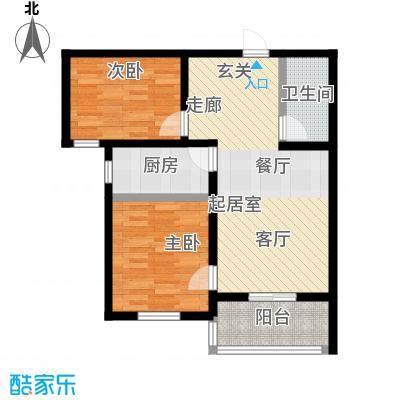 龙潭湖凤凰山庄71.60㎡B户型两室一厅一卫户型-T