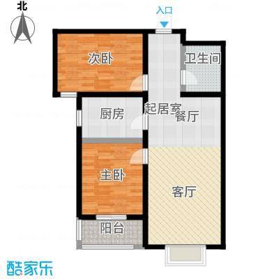 水畔明珠101.18㎡H户型两室两厅一卫户型2室2厅1卫