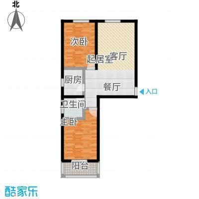 水畔明珠99.84㎡G户型两室两厅一卫户型2室2厅1卫