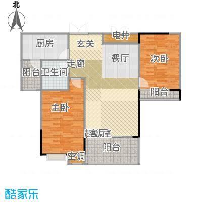 元一柏庄90平米两居户型2室2厅1卫