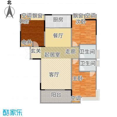 元一柏庄136.9平米三居室户型3室2厅2卫