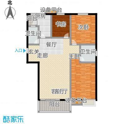 高新名门146.02㎡C座1单元东户户型3室2厅2卫