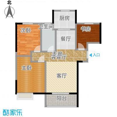 武汉锦绣香江96.00㎡A-1户型3室2厅1卫