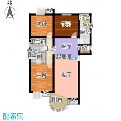山水太阳城136.30㎡E4三室两厅两卫户型