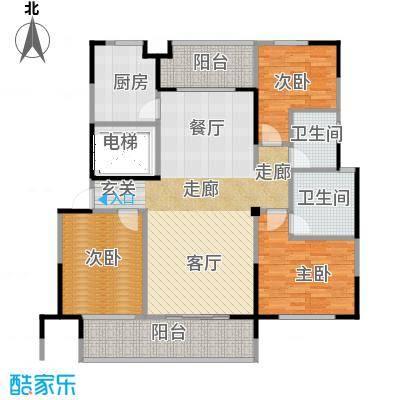 高科荣境124.00㎡B户型3室1厅2卫1厨