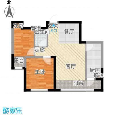 富佳新天地79.55㎡C户型二室一厅一卫户型2室1厅1卫
