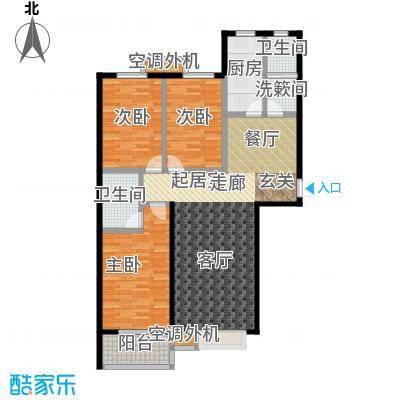 上湖名郡127.85㎡三室两厅两卫127.85平米户型3室2厅2卫