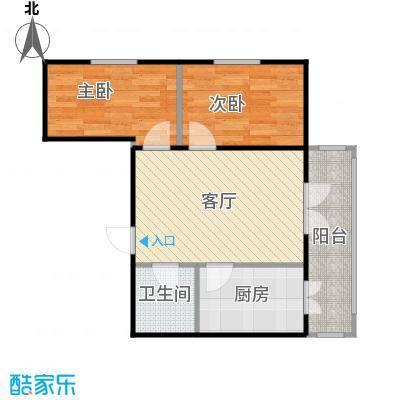 和苑16#使用面积55.4㎡户型2室1厅1卫