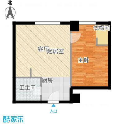 华大国际中心54.21㎡D户型一室一厅一卫户型1室1厅1卫