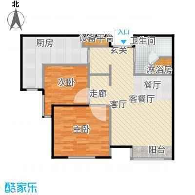 弘泽鉴筑70.00㎡3号楼 睿雅居户型2室1厅1卫