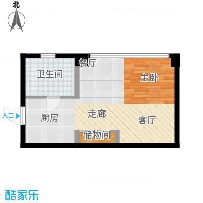 长庚老年公寓二期万华43.55㎡E户型-1室1厅1卫户型
