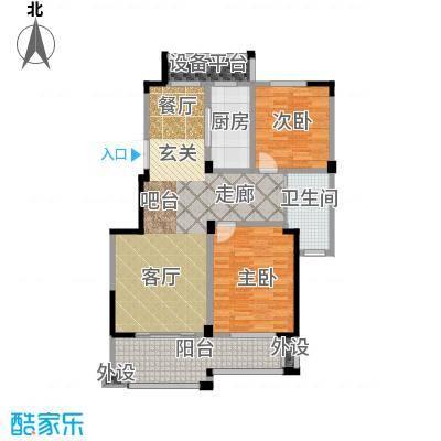 大树玫瑰恬园103.00㎡A6户型103平两居户型2室2厅1卫