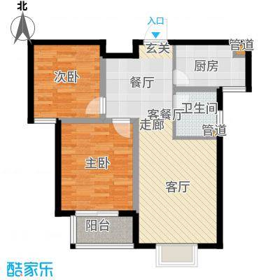 玉泉华庭户型2室1厅1卫1厨
