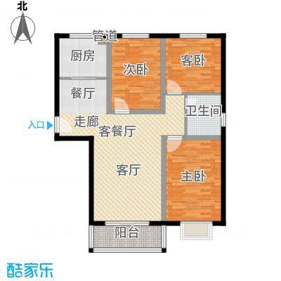 玉泉华庭111.00㎡4号楼E户型3室2厅1卫