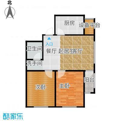 长堤湾76.49㎡高层G2户型2室2厅1卫