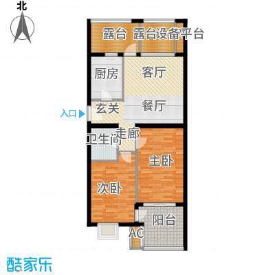 永康城市花园98.00㎡两室两厅一卫98平户型2室2厅1卫