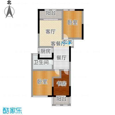 晓庄国际广场90.44㎡一期1号楼标准层E户型1室1厅1卫1厨