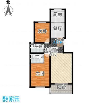 凤凰城103.00㎡花园洋房D1户型2室2厅2卫