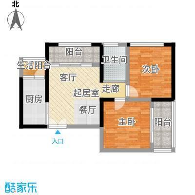 晓庄国际广场64.49㎡一期1号楼标准层A户型2室1卫1厨