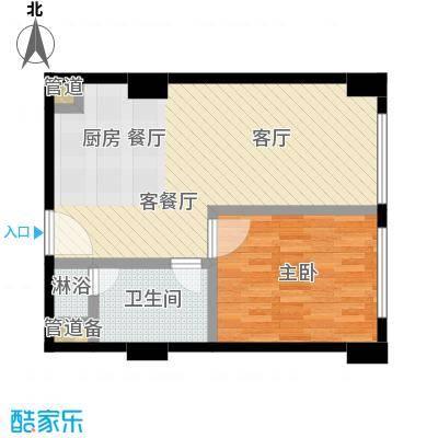 沸腾CBD61.00㎡一室一厅一卫户型1室1厅1卫