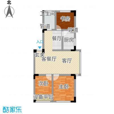渤海玉园88.00㎡E户型3室2厅1卫