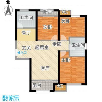 金侨公园壹号92.00㎡户型标准户型3室2厅1卫-T