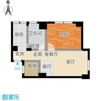 沸腾CBD62.00㎡一室一厅一卫户型1室1厅1卫