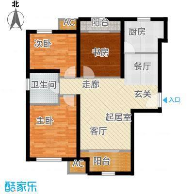 金侨公园壹号89.00㎡户型1户型3室2厅1卫-T