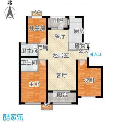 中海银海熙岸118.00㎡D1户型三室两二卫118平米QQ