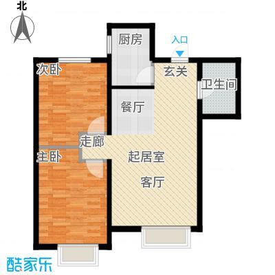 富邦壹品天城90.67㎡F户型 两室两厅一卫户型2室2厅1卫