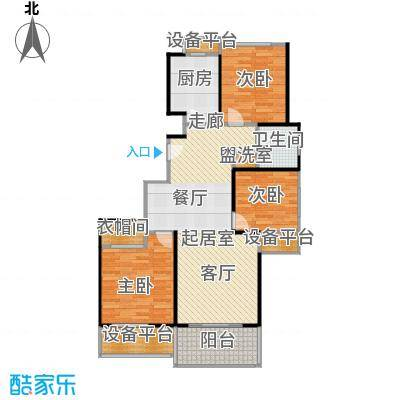 高科麓湾国际社区98平米三室两厅一卫户型