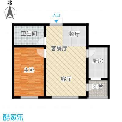渤海玉园85.70㎡B户型1室1厅1卫