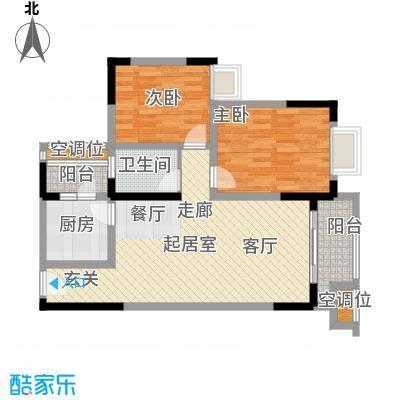 黄河畔岛户型2室1卫1厨