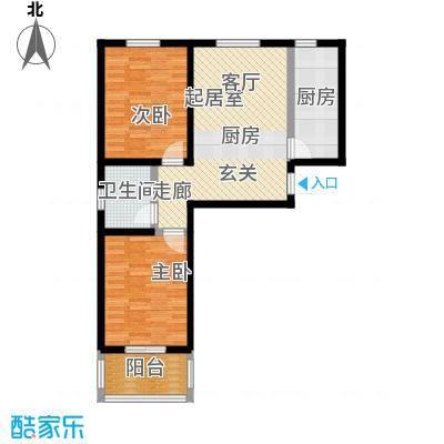 龙潭湖凤凰山庄72.02㎡A户型两室一厅一卫户型-T