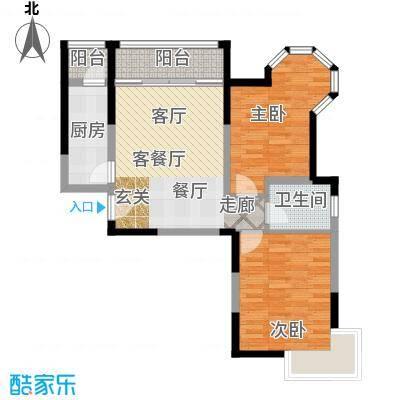 青桦逸景19、20#A户型93平米户型2室2厅1卫
