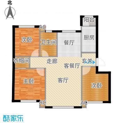 凯旋城户型3室1厅1卫1厨