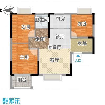 荣盛莉湖春晓86.08㎡户型3室1厅1卫1厨