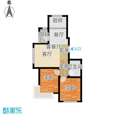 金道城75.00㎡16号楼 两室两厅一卫户型2室2厅1卫