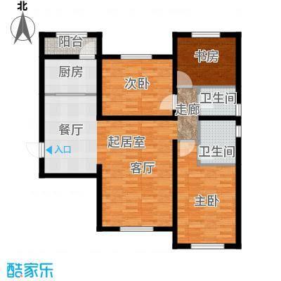 天津华纳瑞都小区户型3室2卫1厨