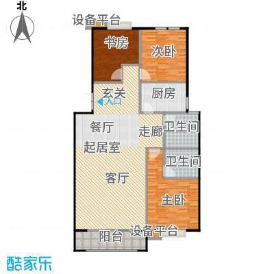 悦来山水居139.00㎡三室两厅两卫户型3室2厅2卫