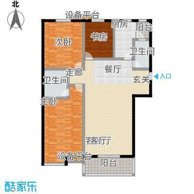 高新名门145.87㎡C座1单元西户户型3室2厅2卫
