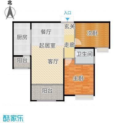 中海紫御公馆96.00㎡天朗尚居二居室户型2室2厅1卫
