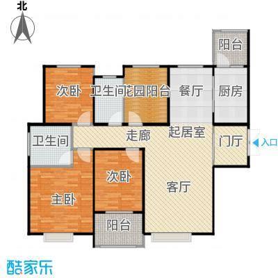 中海紫御公馆141.00㎡风清雅府三居室户型3室2厅2卫