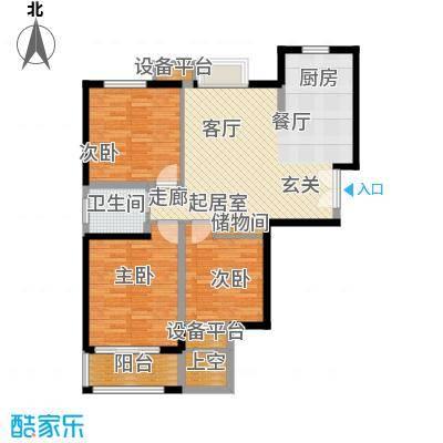 水岸豪庭东苑115.00㎡舒适三房户型3室1厅1卫