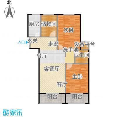 兴盛铭仕城107.46㎡12、13#F户型两室两厅一卫:107.46平米户型2室2厅1卫